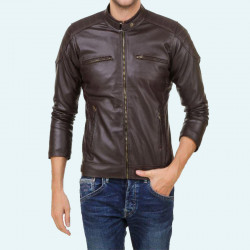 Brown stylish HILLER PU Leather jacket