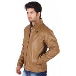 BROWN COLOUR CLASSIC LEATHER JACKET