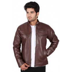 Dark Brown 3 zip Leather Jacket