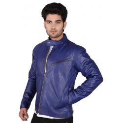 Blue leather jacket mens