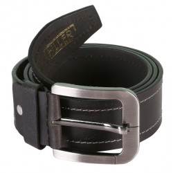 Single Stitched Black Leather Belt With Metallic Pin Buckle