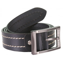 Solid Black Leather Belt With Single Stitch and Metallic Pin buckle