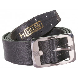 Designer Unique Black Belt With Stitch and Pin Buckle