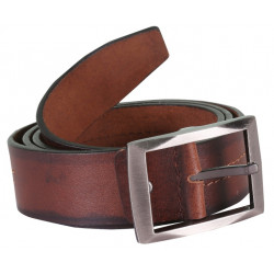 Brown N Black Shaded Leather Belt With Pin Buckle