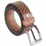 BROWN CHEQUERED LEATHER BELT WITH METALLIC PIN BUCKLE