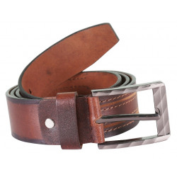 Brown shaded & Stitched Leather Belt With Pin Buck