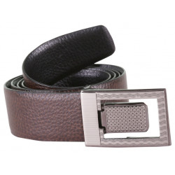 Brown Leather Belt With Designer Auto Lock Buckle