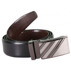 SleekNShine Black Leather Belt With Metallic Auto Lock Buckle