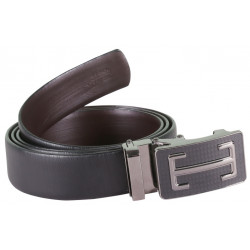 Sleek Designer Black Belt With Metallic Auto Lock Buckle