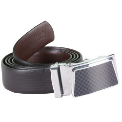 BLACK-BROWN TWO SIDED LEATHER BELT WITH METALLIC AUTO LOCK BUCKLE