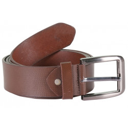 Designer Brown Leather Belt with Metallic Pin Buckle