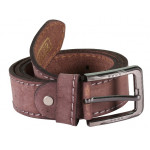 Brown Leather Belt With Stitch Design
