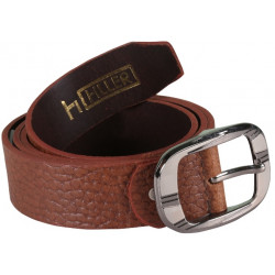 Brick Brown Leather Belt With Pin Buckle