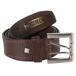 Dark Brown Double Stitched Belt With Unique Pin Buckle