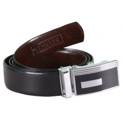 SLEEKNSHINE BLACK LEATHER BELT WITH AUTOLOCK BUCKLE