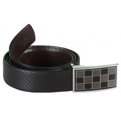 Designer Black Belt With Chequer Buckle
