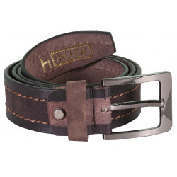 Brown-Black Stitched Leather Belt With Pin Buckle