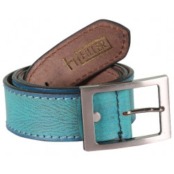 Designer Blue Single Stitched Leather Belt With Pin Buckle