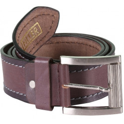 Brown Black Stitched Leather Belt With Pin Buckle