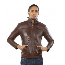 Slim fit leather jacket for mens