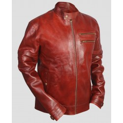 Saddle Leather Polo Red Leather Jacket