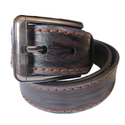 Double Stiched Black Burnt Leather Belt