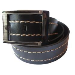 Double Stitched Black Leather Belt