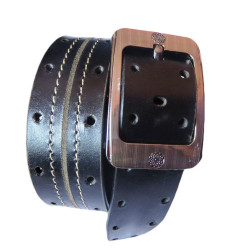 Double Stiched Pined Leather Belt