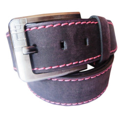 Pink Stiched Leather Belt