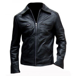Black slim fit leather jacket