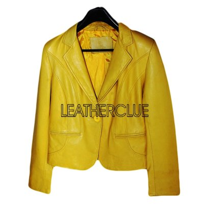 Yellow Color Ladies Leather jacket