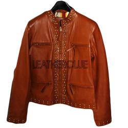 Brown color Ladies Leather Jacket