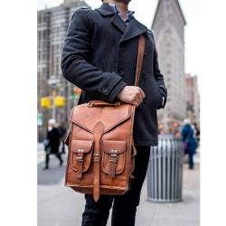 Classic Vintage Leather 2 in 1 Backpack Messenger Bag