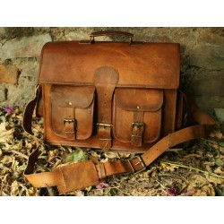 Genuine Leather Laptop Office Messenger Bag
