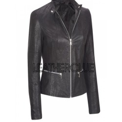 Plain black color soft leather jacket for women