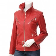 Stylish red colour leather jacket for women's